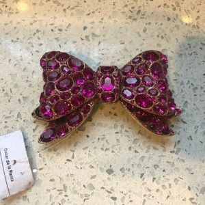 Belt Buckle Jeweled Bow Fuchsia Pink Brooch